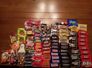 Halloween candy haul photo courtesy of Kristin Battista-Frazee