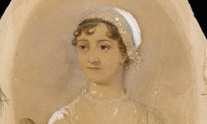 Watercolor Portrait of Jane Austen commissioned after the author's death by her nephew Rev. James Edward Austen-Leigh and based on an earlier portrait by her sister Cassandra.